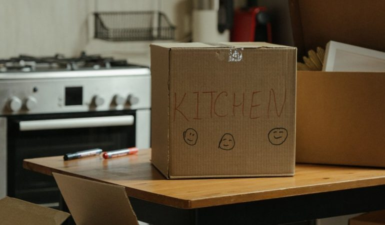"A box labelled ""Kitchen"""